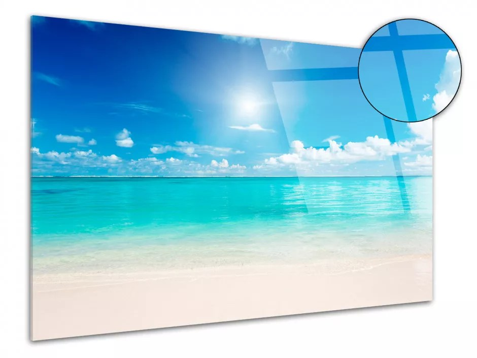 tableau photo paysage eau turquoise sur plexiglas pas cher