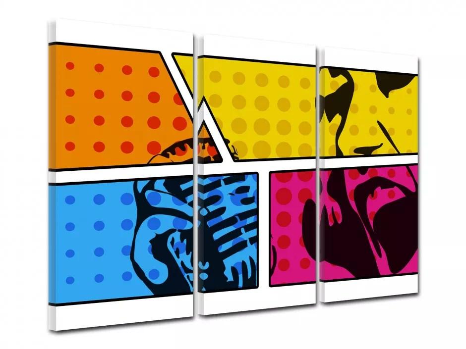 cadre triptyque design colore bd impression sur toile declina