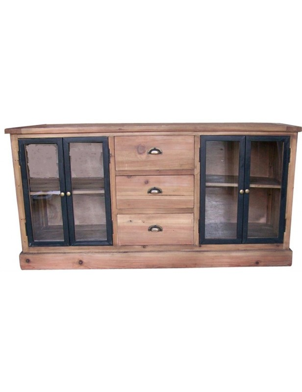 buffet 4 portes vitre bas bois recycle 3 tiroirs poignees laiton