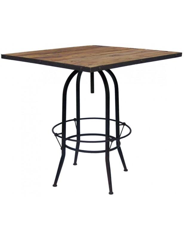table bar carree reglable bois recycle industriel pied metal