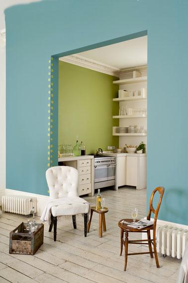Cuisine Couleur Peinture Vert Jade Lotus Vert Blanc