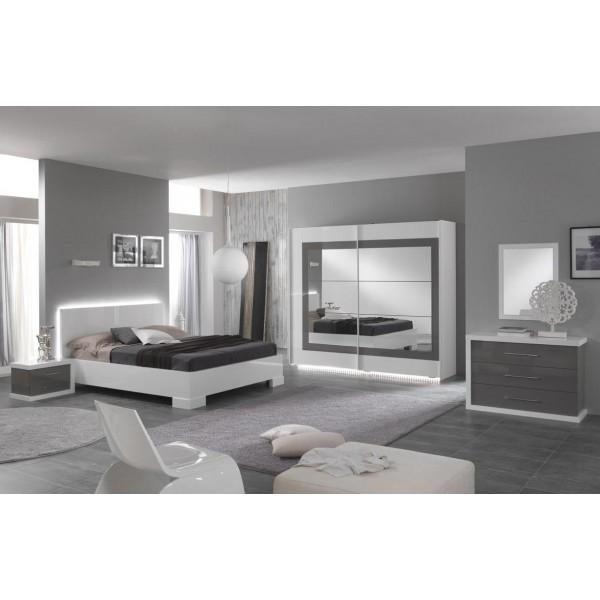chambre a coucher ancona en blanc et gris laque deco meubles