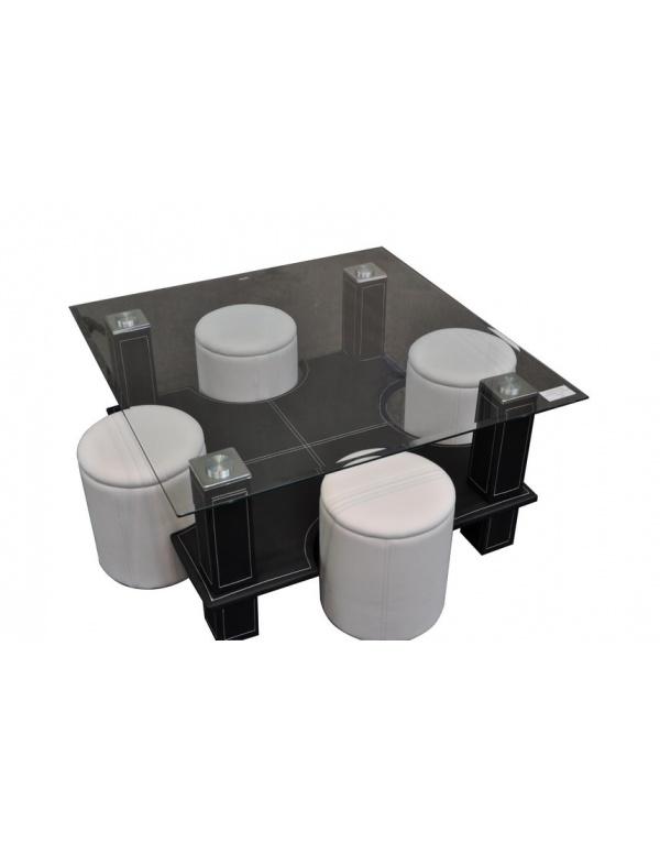 Table Basse En Verre Avec Pouf Chocolat Yvelise