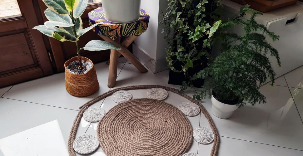 creer un tapis mandala avec de la corde
