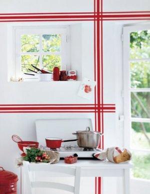 motif rayure torchon rouge sur mur cuisine