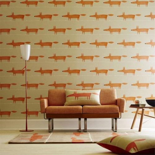 Deco-orange-renard-What-does-the-Fox-say-Papier-peint-des-annees-70