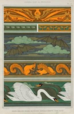 MP Verneuil (French 1869-1942) L'animal dans la décoration Oiseaux Libellules Mouches Chauve-souris Écureuils et noisettes Cygnes bordures 1897