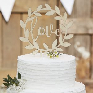 CW  Wooden Love Cake Topper V scaled