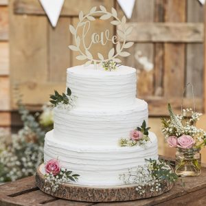 CW  Wooden Love Cake Topper scaled