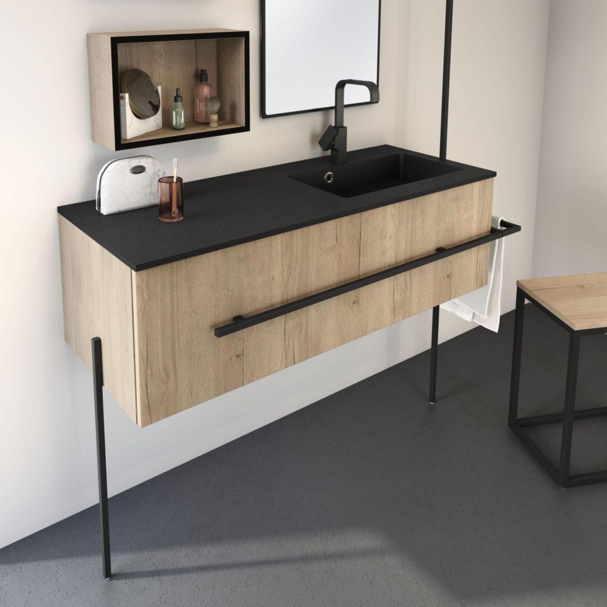 Alterna Pieds Pour Meuble Sous Vasque Noir Mat Hauteur 53cm La Paire All The Way Decoceram