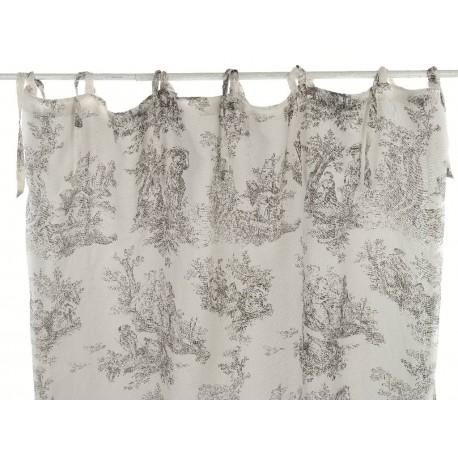 rideau en coton toile de jouy beige a nouettes 180 x 300 cm par blanc mariclo