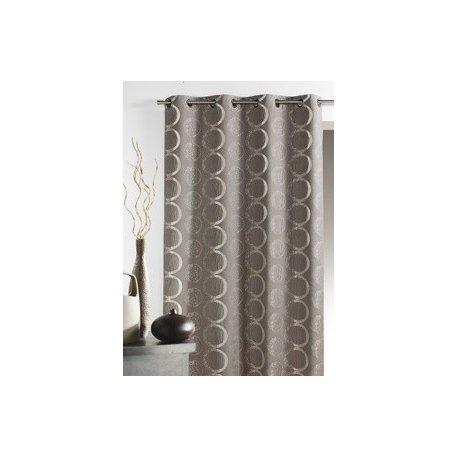 rideau gris motif fantaisie cercle 135 x 260