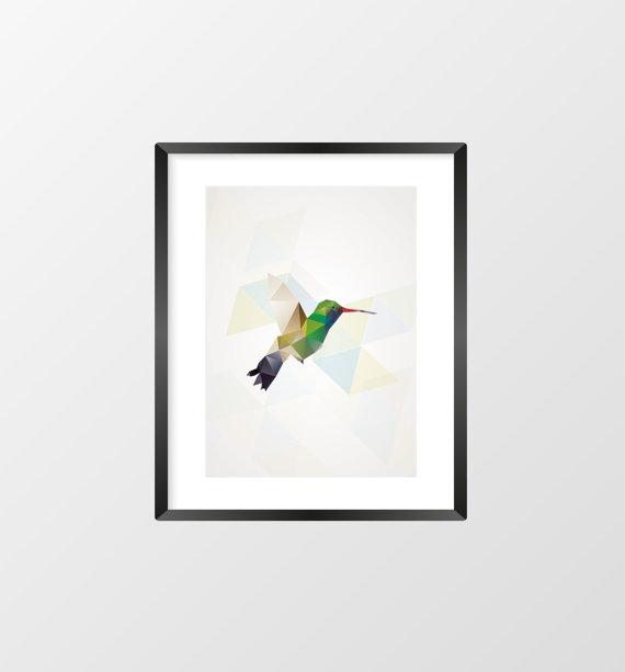 """Jolie affiche """"geometric bird"""" (colibri)"""