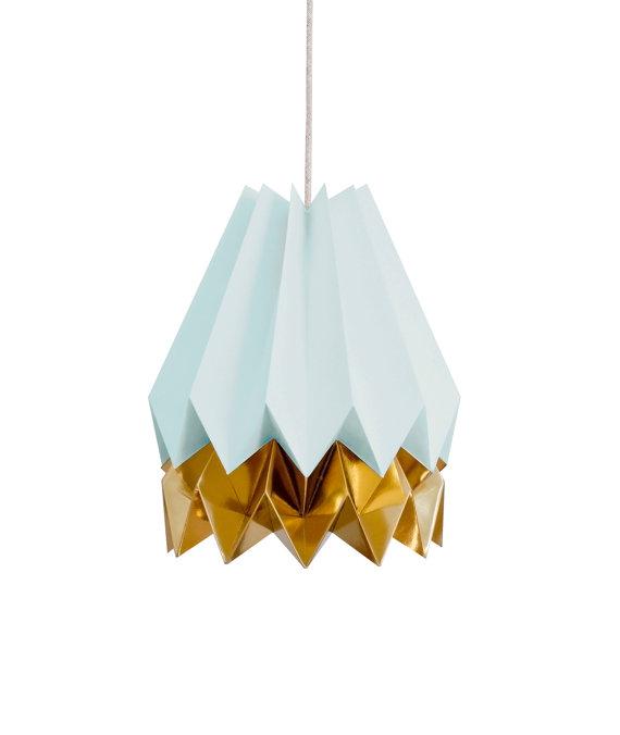 Suspension origami turquoise et or
