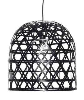 Suspension en bambou noir tissé de Hübsch chez Decoclico