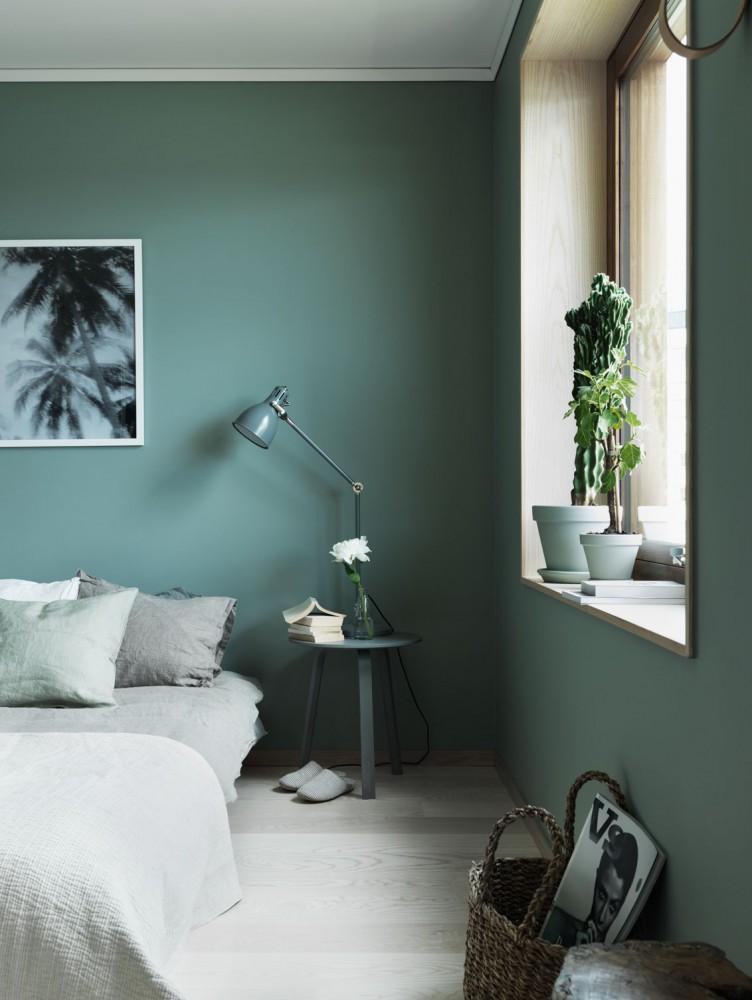 Belle décoration zen grâce au vert dans la chambre
