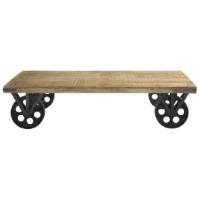 Shopping décoration folk : table basse industriel en manguier et sur roulettes acier