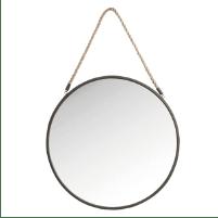 Miroir rond avec corde style nautique
