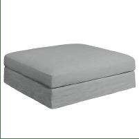 Pouf rectangulaire en lin gris souris chez La Redoute