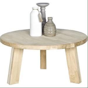 Table basse ronde en bois clair esprit scandinave