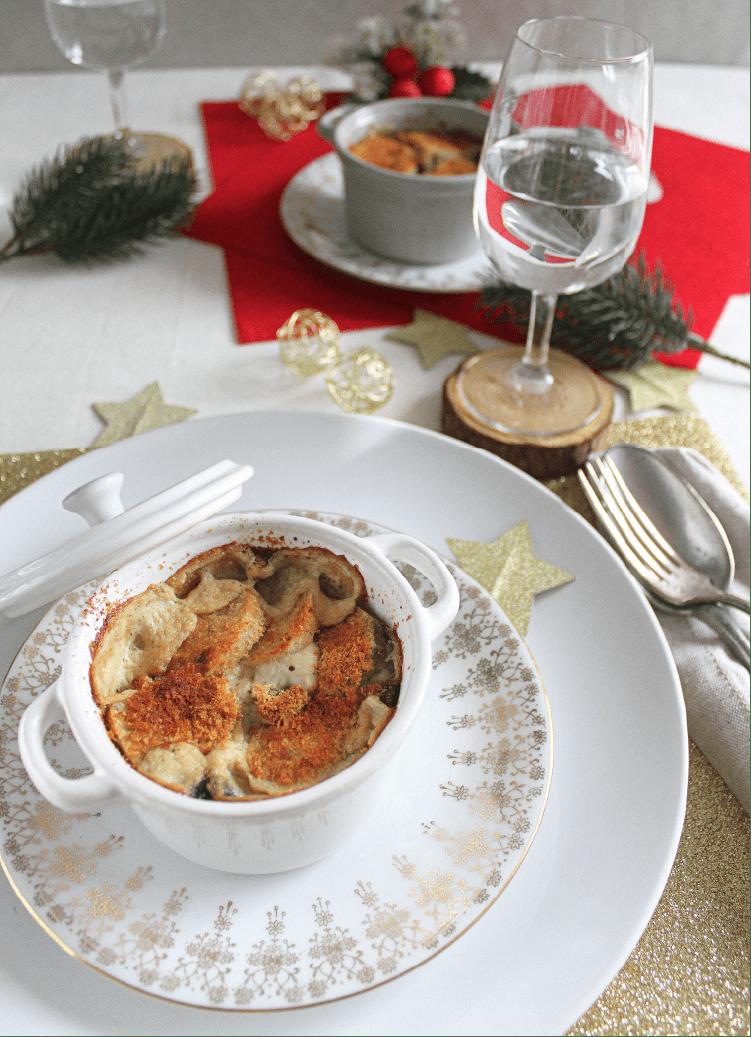 Noël vegan et sans gluten : Gratin de topinambours aux champignons par www.cookalifebymaeva.blogspot.com