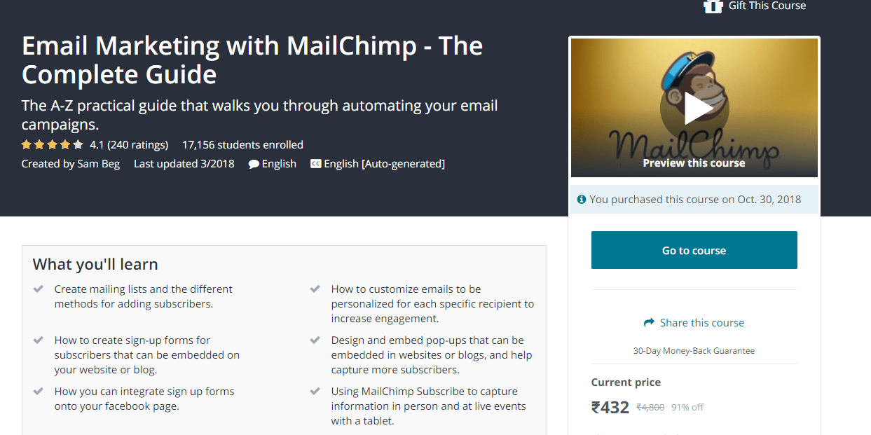 email marketing with mailchimp course
