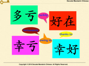 How to differentiate between 多亏, 幸亏, 幸好 and 好在?