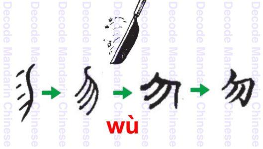 勿 a knife cutting off the useless things