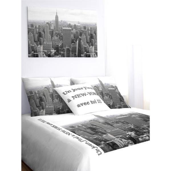 Housse De Couette New York Noir Et Blanc A Personnaliser Decodeo