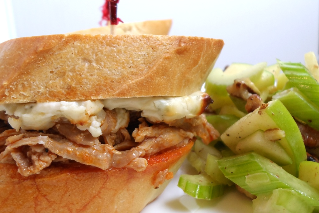 Buffalo Blue Pulled Turkey Slider with Crisp Celery Apple Salad