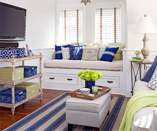 flat-screen-blue-and-white-room-bhg
