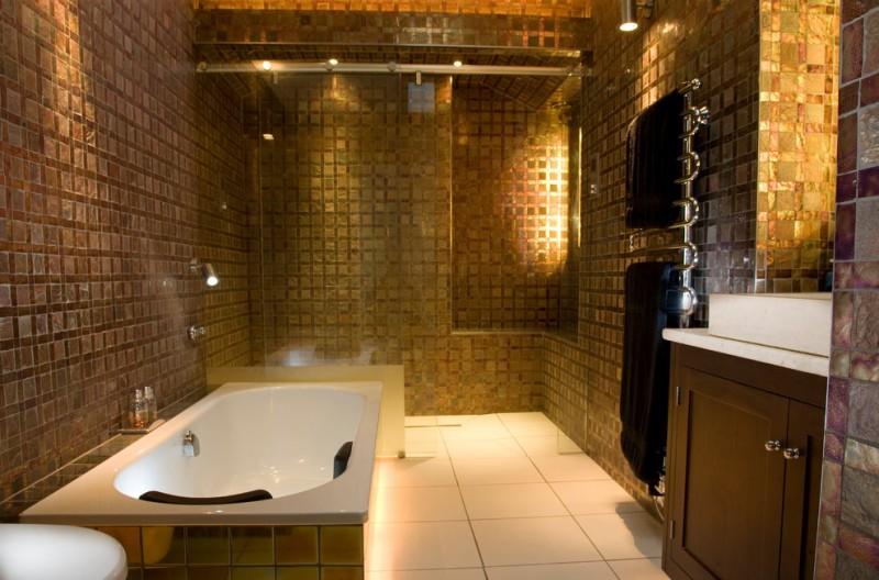 Wooden Tile Bathroom Walls