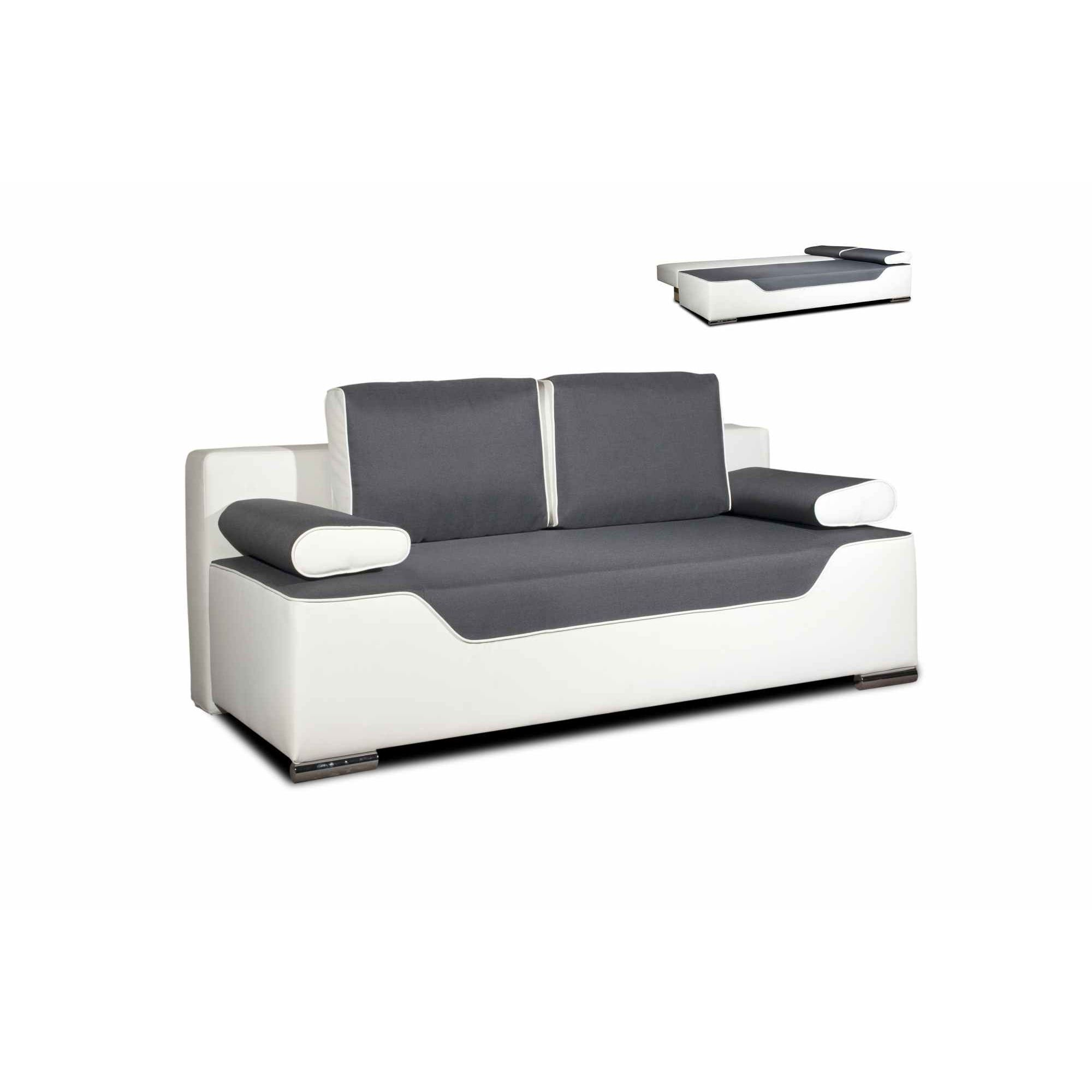 DECO IN PARIS Canape 3 Places Convertible Gris Et Blanc