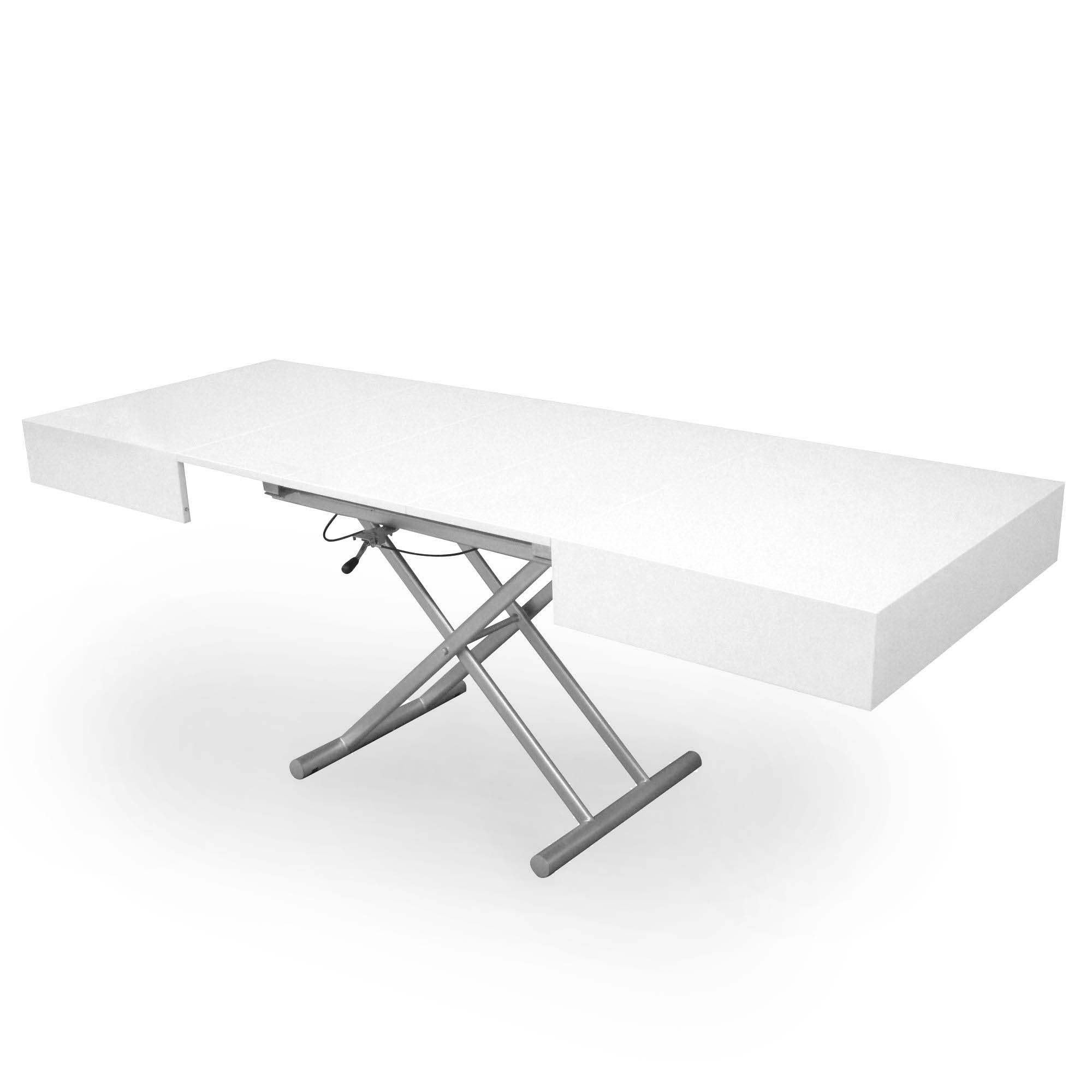 table basse relevable extensible laquee blanc smart xxl