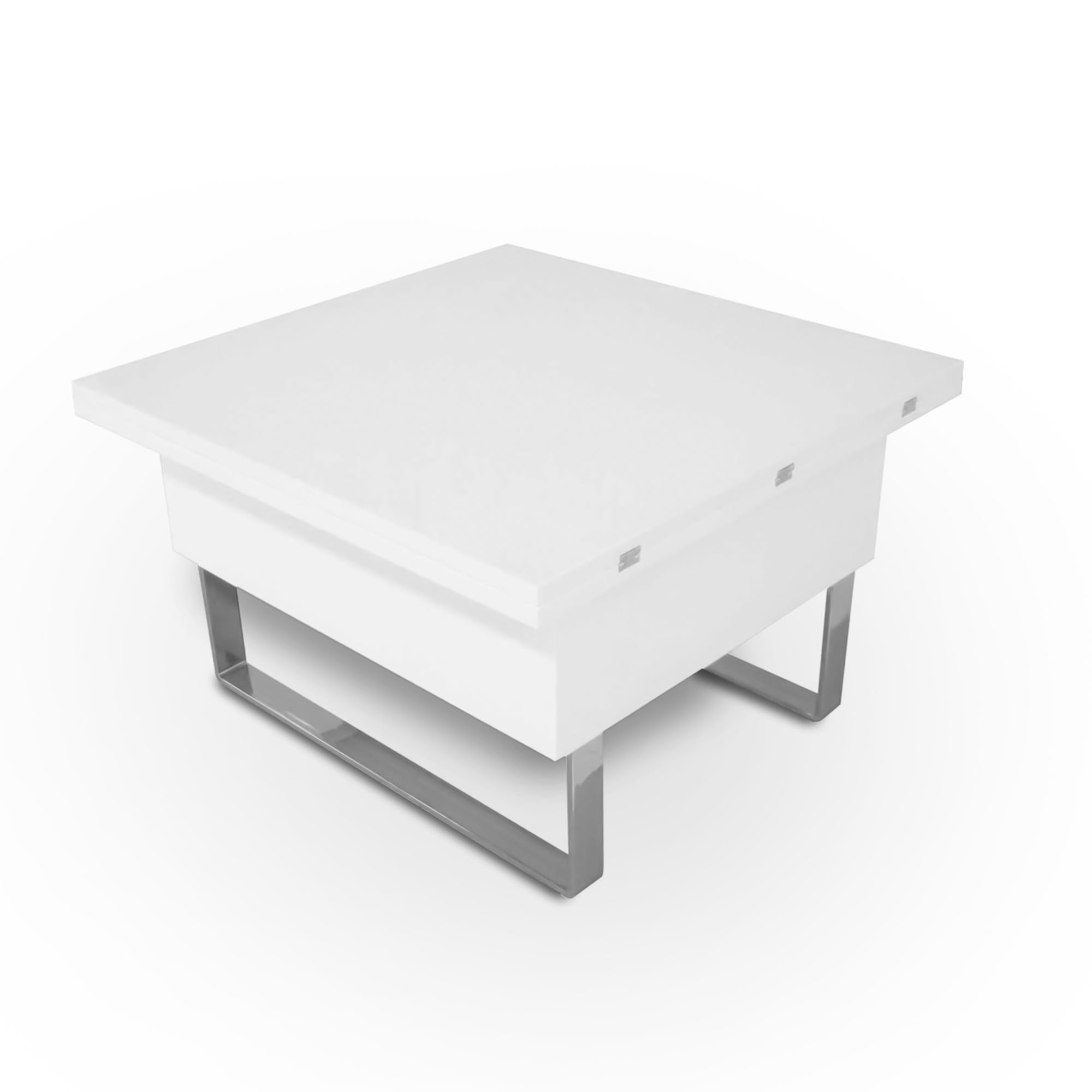 table basse relevable multifonction woods laquee blanc
