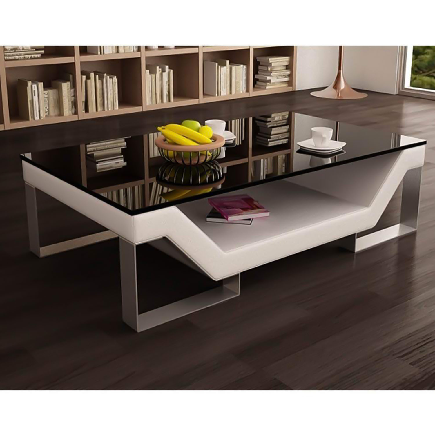table basse design blanche pieds chrome ulys