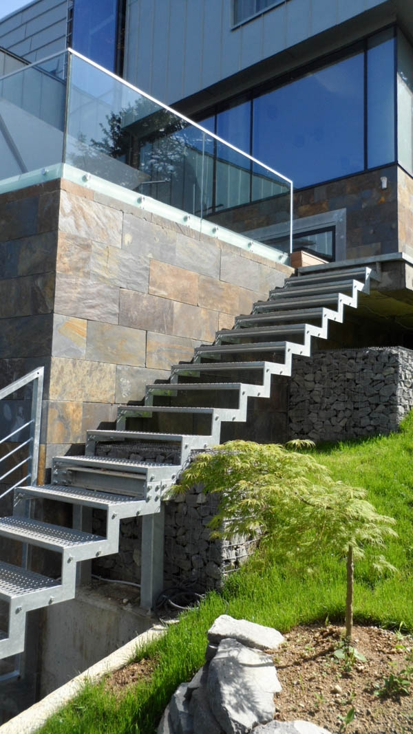 Fascinating Modern Architecture Presenting Unique Details Zinc House | Modern Staircase Design Outside Home | Msmedia | Stair Case | Spiral Staircase | Decorative Wrought | Iron Railings