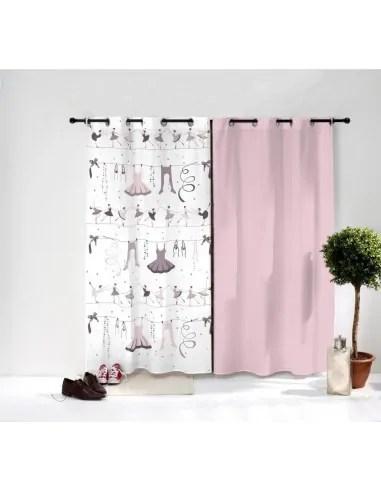 paire de rideaux danseuse ballerine rose