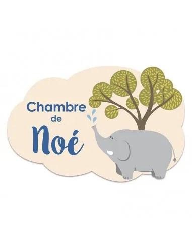 plaque de porte enfant personnalisee elephant
