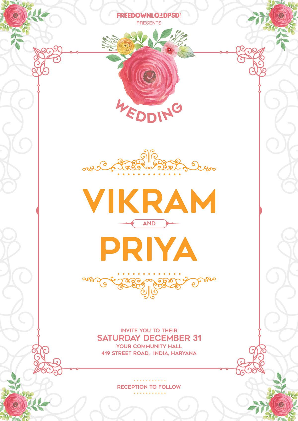 30 elegant wedding invitation psd