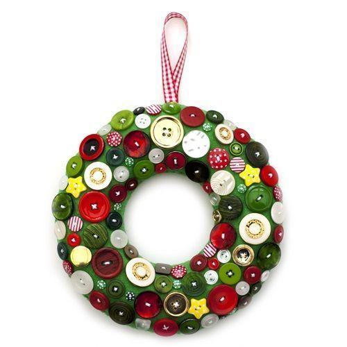 coronas de navidad originales con botones