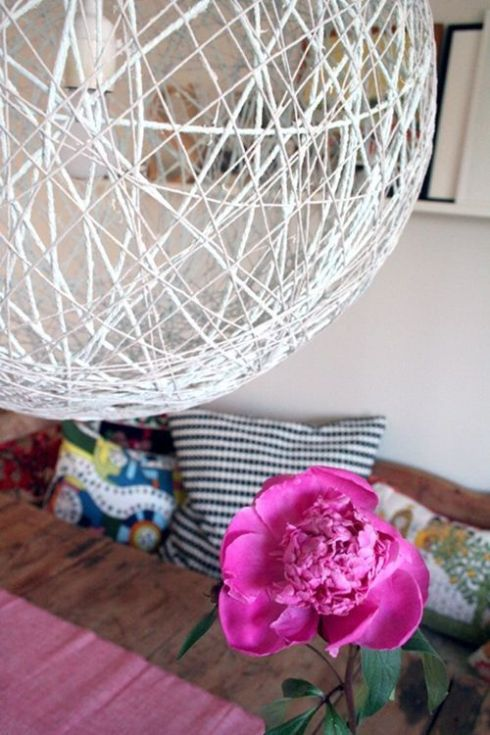 como hacer una lampara con cuerda para decorar moderno 6