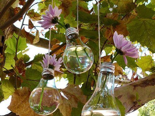 reciclar bombillas para decoracion vintage