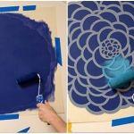 paredes con flores con stencil o estarcido 4