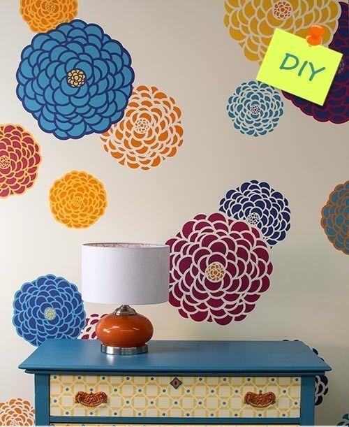 paredes con flores con stencil