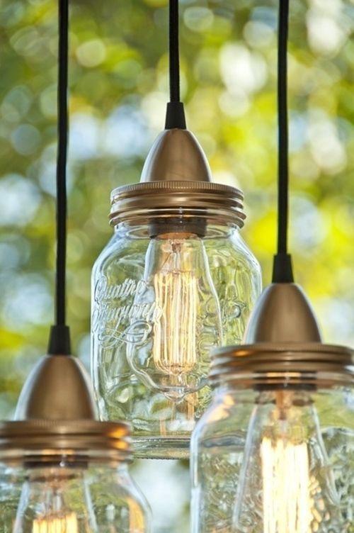 Ideas para decorar con tarros de vidrio lamparas DIY 5