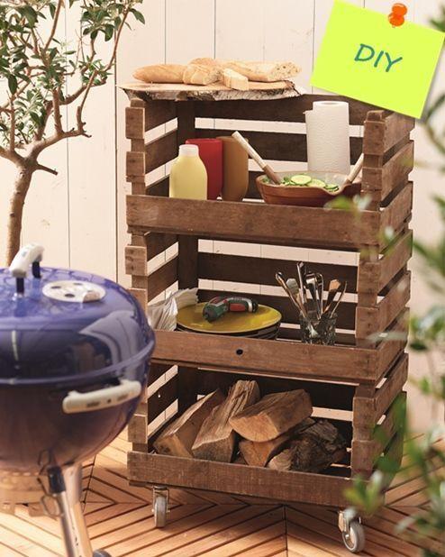 Mueble para barbacoas DIY hecho con cajas de madera