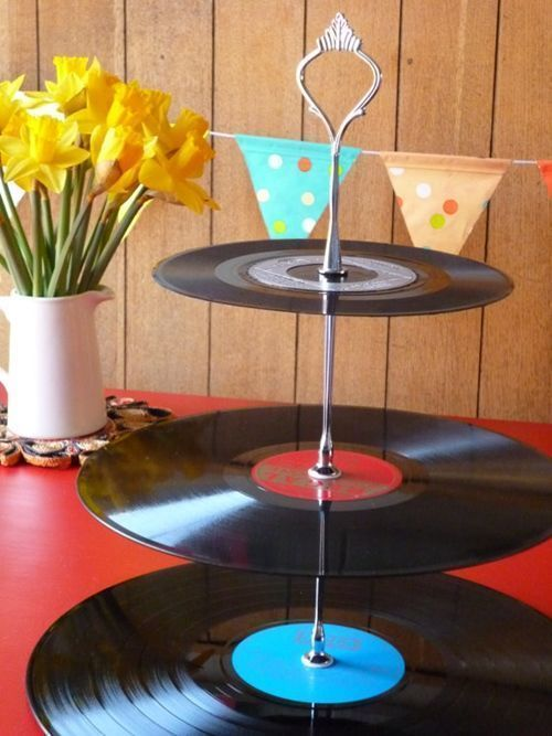 ideas para decorar con discos de vinilo 7