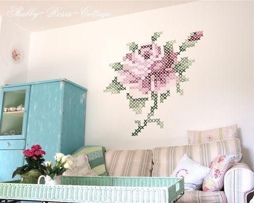 pintar paredes con esquemas de punto de cruz  9b
