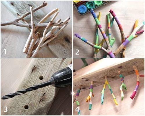 divertido y practico colgador de collares diy con ramas secas 2